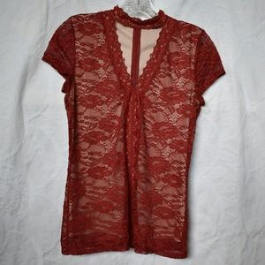 Express red lace.top, 2 layers, floral cap sleeves